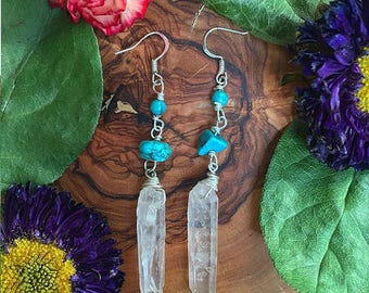 Turquoise & Clear Quartz Dangle Earrings