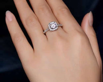 Square Halo with Round cut CZ - Platinum Plated