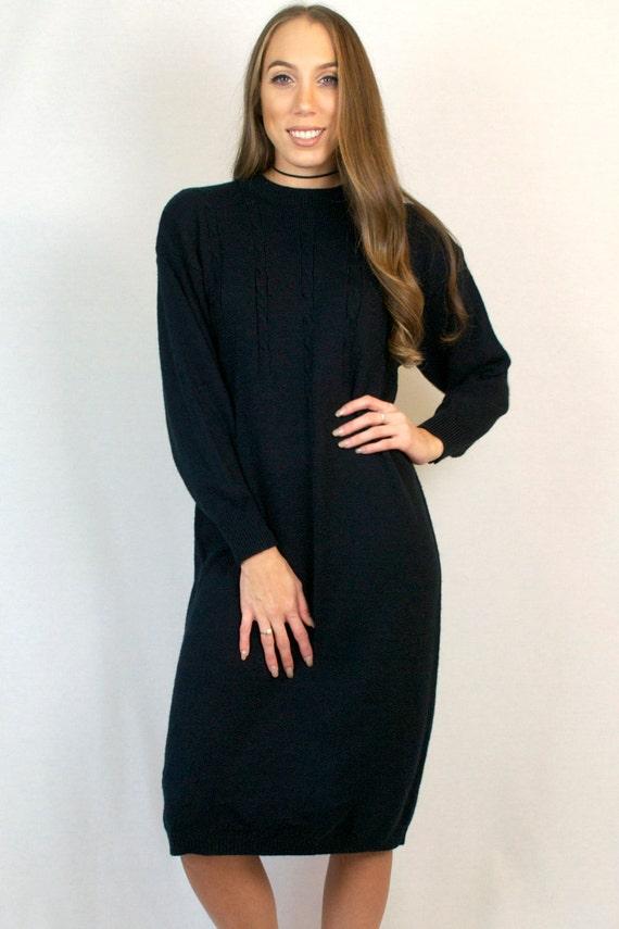 Vintage 80s Cable Knit Oversized Long Sleeve Funky Black Crewneck Sweater Dress