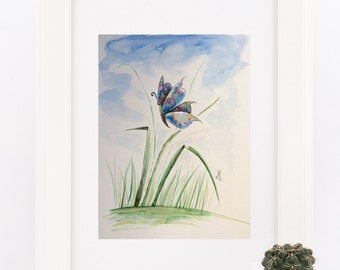 Colorful butterfly Original watercolor Original wall decor