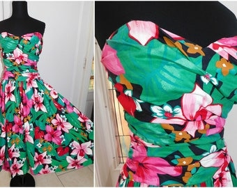 Vintage Lord & Taylor Tropical Hawaiian Tiki Dress Pin Up Dress  Swing Dress Rockabilly Medium