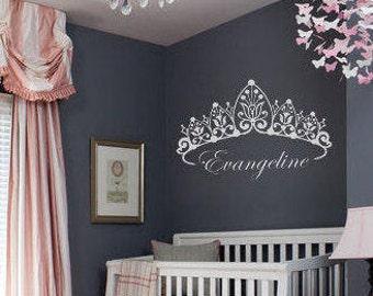 Custom Princess Crown w/ Name Wall Decal - Children's Vinyl, Girls Room or Nursery Princess Decor, Personalized