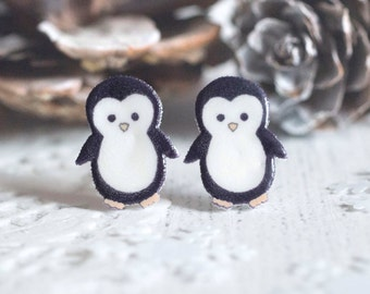Christmas Penguin Earrings - North Pole Collection - Cute Penguin Studs