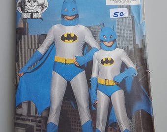 Vintage Butterick Batman Man and Child Costume Sewing Pattern 6313 Cosplay Pattern 1989