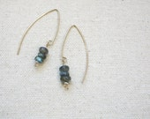 Minimalist LABRADORITE Earrings / Modern Labradorite Earrings / Cairn Earrings / Drop Earrings / Dainty Earrings / Flash Labradorite