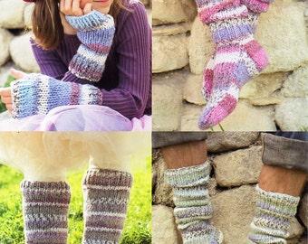 womens / mens / childrens legwarmers wrist warmers socks knitting pattern pdf Chunky bulky 12ply leg warmers 4years-adult Instant download