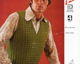 "Vintage mens slipover knitting pattern PDF mens pullover patterned sleeveless sweater 36-48"" 4ply DK 8ply Light worsted Instant download"