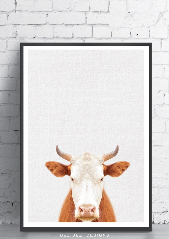 Items Similar To Rustic Home Decor Cow Print Cow Art