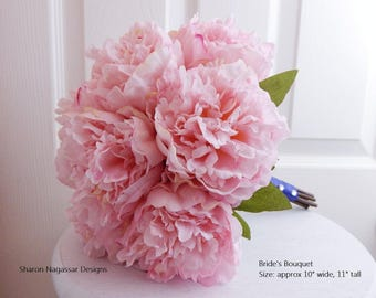 Pink, blush, silk, peony/peonies, wedding, bouquet, boutonniere, Real Touch flowers, set, package