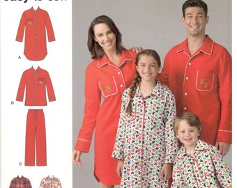 Simplicity D0590 / 1504 Size XS, S, M, L, XL Womens, mens, teens and kids pajamas sewing pattern: long sleeve shirt or tunic and long pants.