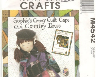 McCall's 4543 Sophie Ragtime Dolls, Pattern 6.  Doll has crazy quilt cape and country dress, 18 Inch Sophie Doll Clothes, kitten pattern