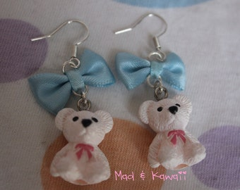 White bear earrings