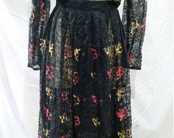 Gorgeous vintage 80's lace and sequined co-ord twinset bolero and skirt