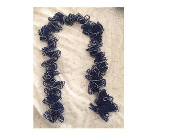Dark Blue Ruffle Scarf
