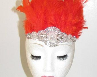 Orange Red Silver Feather Headdress Headband 1920s Showgirl Carnival Samba 1166