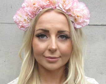 Large Blush Pink Cream Carnation Flower Garland Headband Hair Headpiece Big 2183