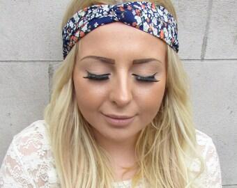 Navy Blue Garden Floral Print Twist Turban Headband Boho Festival Hair Band 2323