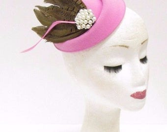 Light Pink Brown Feather Pillbox Hat Hair Fascinator Races Vtg Headpiece 2349