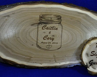 Wedding Guest Book ~ Mason Jar Guest Book ~ Wedding Sign ~ Wood Slab ~ Tree Slice ~ Guest Book Alternative  ~ Mason Jar Theme ~ Mason Jar ~
