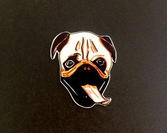 Pug brooch. Handmade dog brooch by Outlaws and Skeletons.