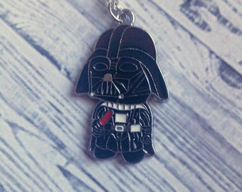 "Darth Vader Charm Necklace (Star Wars) 18"" - Choose Your Own Chain"