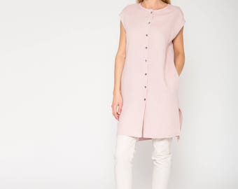 Light Pink Cap Sleeve Long Shirt with Side Slits
