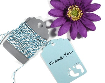 Light Blue Baby Shower Tags Set of 20 - Boy's Shower Favors - Die Cut Baby Feet - Wish Tree - Sky Blue Baby Boy Shower Thank You Tags