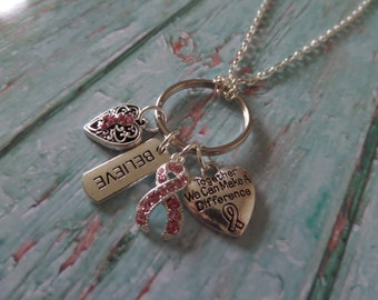 """CHARITY HOPE RIBBON 4 charm silver alloy 30"""" silver tone chain necklace Cancer charity gift"""