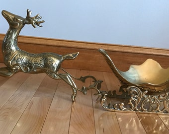 Large Brass Reindeer and Sleigh Christmas Decoration Scandinavian Style | Santa Clause Sleigh and Reindeer | Vintage Christmas Decoration