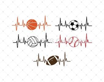 Heartbeat Sport Ball SVG, Sport SVG, Baseball SVG, Soccer svg, Basketball svg, Football svg cut files for Cricut and Silhouette, svg files