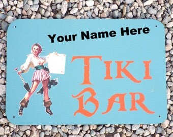 Custom Made Metal Pirate Tiki Bar Sign