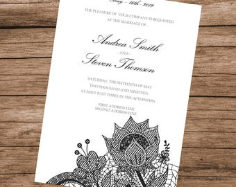 DIY Black Floral Lace Wedding Invitation Template, IMMEDIATE DOWNLOAD, Editable Text & Colors, 5x7