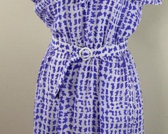 Lavender White Dress Vintage ifi Secretary 70s