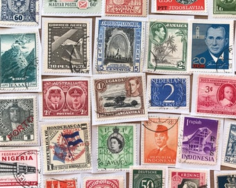Vintage International postage stamp stickers paper ephemera pack embellishment collage junk journal smash book