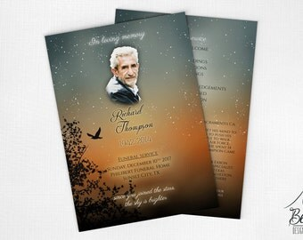 Funeral Program Keepsake with Sunset Design • Printable Celebration of Life Program • Online Memorial Service Program • Funeral Pamphlets