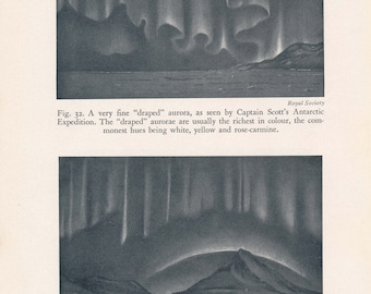 1934 Aurora Borealis (Northern Lights) Antique Astronomy Print