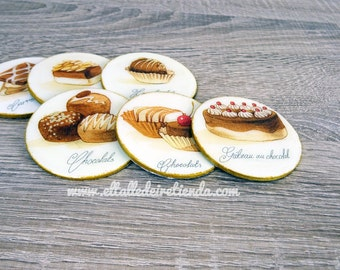Candy patterned wood coasters