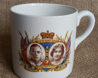 Vintage HM King George VI and HM Queen Elizabeth Coronation Commemorative Mug 12th May 1937