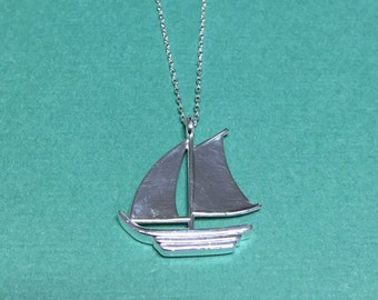 Sailing Boat Pendant - Handmade sterling silver