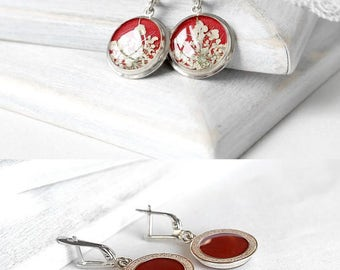 Red wedding set gift Bridal gift set Silver jewelry set Wedding dangle earrings for bride jewelry Love earrings for her present for wife