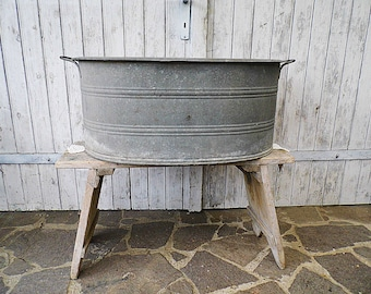 Old galvanized wash tub Farmhouse Made in Germany