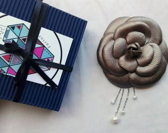 Bronze Leather Camellia Brooch,Chanel Style Camellia,Stylish Flower Corsage,Casual Style Brooch  -2405171450-