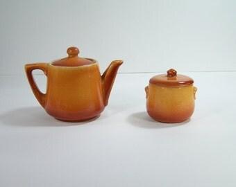 Teapot and sugar bowl brown flamed ceramic Durofeu vintage 1930 made in France
