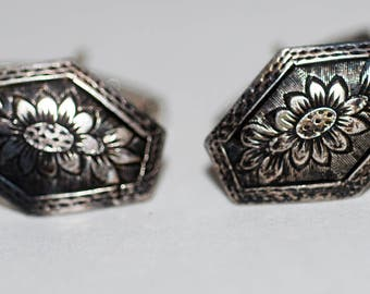 Genuine Vintage 1950s era 800 Silver Floral Motif Cuff Links-- Free Shipping!
