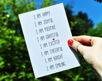 Happy Affirmation Print A6 A5 A4 - Inspirational Positive Typography Print - Happy Quote Print - Dream Print - Positive Affirmations Card