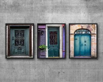 Door Wall Art Home Decor, Set of 3 Prints, Door Art Prints, Door Travel Art, teal wall art decor, large green artwork, blue wall art