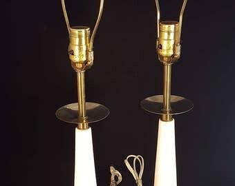 1950s Parzinger Style Alabaster U0026 Brass Lamps, Boudoir Lamps, Table Lamps,  MCM Lamps