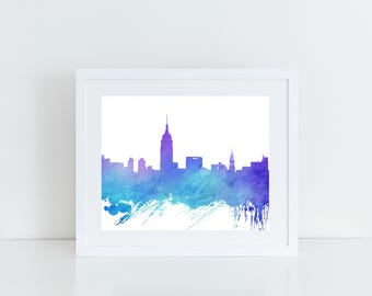 Cityscape Art, New York Skyline, NYC Skyline, Printable Wall Art, Instant Download, 8x10, 11x14