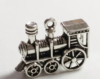 2pc Steam Engine Charm - 3d Antique Silver - Steam Train - 28x21mm - Jewelry Supplies - B0080029