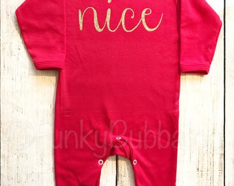 Nice Christmas Jammies - Red Gold Sleepsuit & Headband, Baby Girl Christmas PJs Pyjamas Onesie, Baby First Christmas All In One 1st